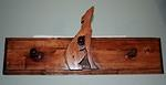 3 Leash Holder Greyhound Inset in Wooden Rack
